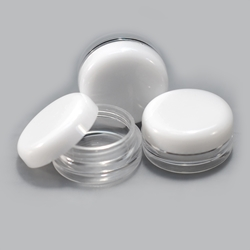 Clear Jars w/White Lids (3 gram, 100 Jars + 100 labels) Cosmetic Sample Jars, makeup containers, makeup sample containers