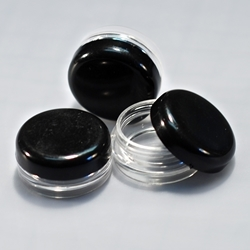 Clear Jars w/Black Lids (3 gram, 100 jars + 100 labels) Cosmetic Sample Jars, makeup containers, makeup sample containers